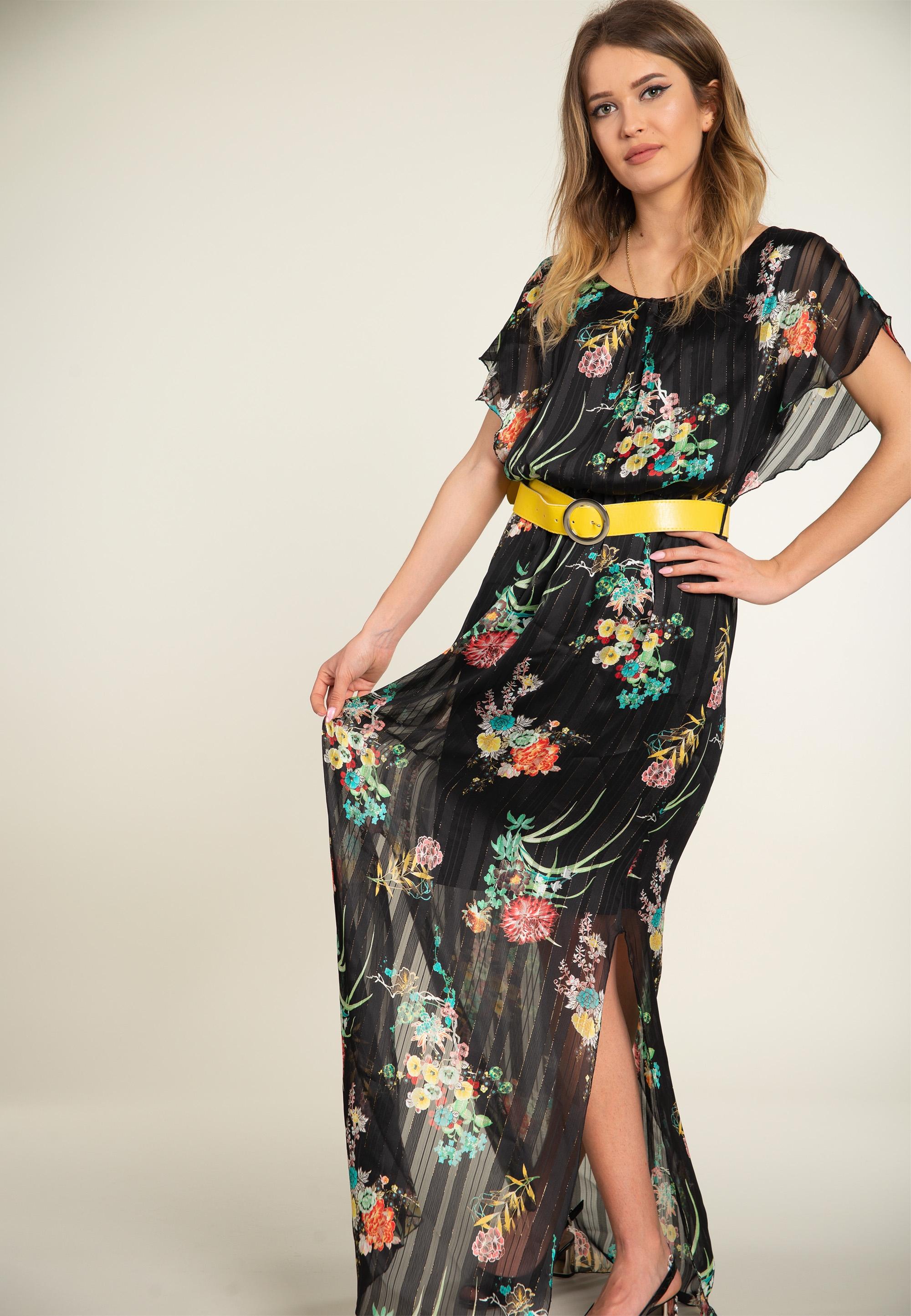2f638e72688171 Plisowana sukienka z paskiem EKS - Nico - Odzież i Obuwie