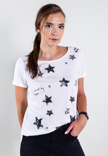 T-shirt z nadrukiem i cekinami Street One