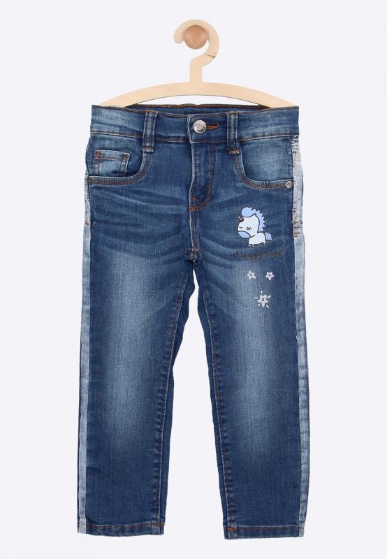 Jeansy z nadrukiem jednorożca Blue Seven