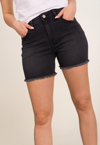 Jeansowe bermudy z postrzępionymi nogawkami LEE - 002CZARNY