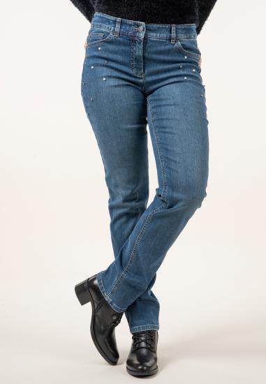 Jeansy z perełkami regular...