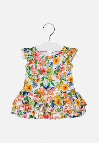 Sukienka dziewczęca tropikalny wzór Mayoral