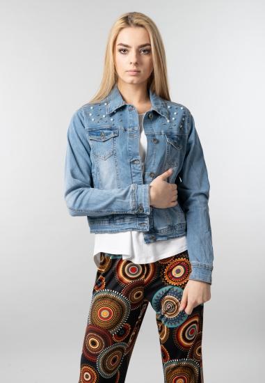 Damska kurtka jeansowa z perełkami Blue Seven