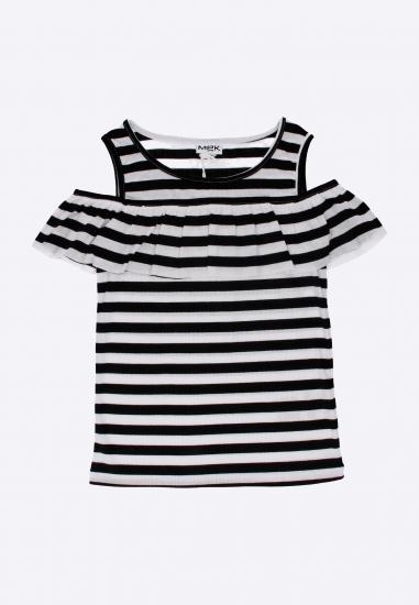 T-shirt dziewczęcy w paski Mek