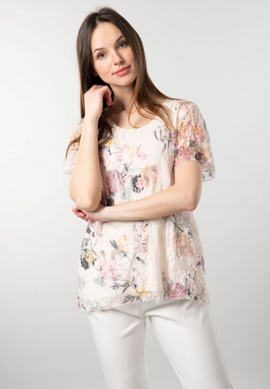 Wzorzysta bluzka damska z koronki Gaia
