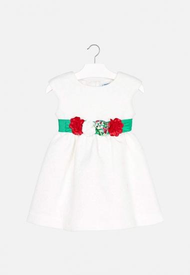 Elegancka sukienka dziewczęca z kwiatami Mayoral - 00424 ECRU
