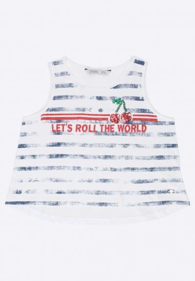 T-shirt dziewczęcy ze zdobieniem Tiffosi