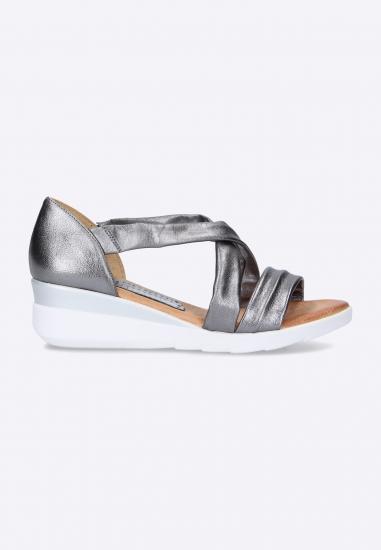 Sandały damskie na koturnie Marila - 016SREBRNY