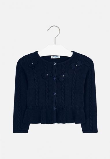 Dziewczęcy sweterek z kokardkami Mayoral - 00728 GRANAT
