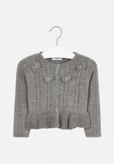 Dziewczęcy sweterek z kokardkami Mayoral - 00327 SZARY