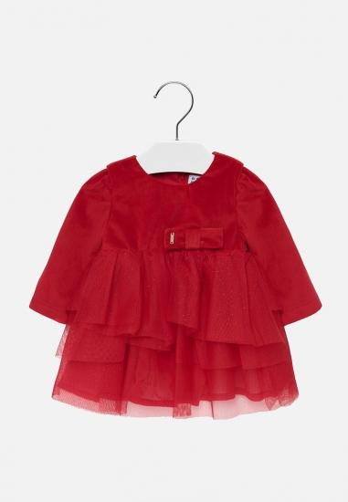 Elegancka sukienka z łączonych materiałów Mayoral - 00660 CZERWONY