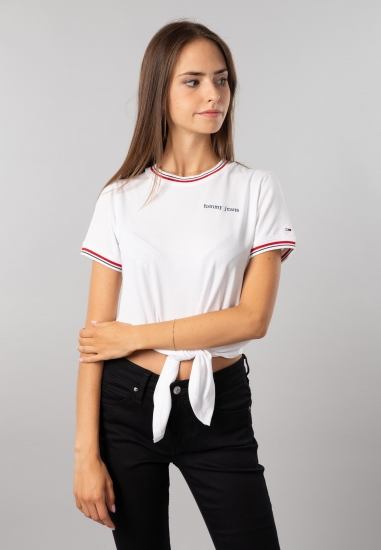 T-shirt damski z wiązaniem Tommy Jeans