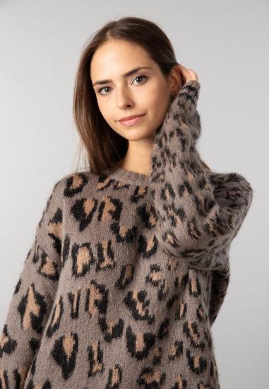 Sweter ze zwierzęcym wzorem z domieszką moheru Trussardi Jeans