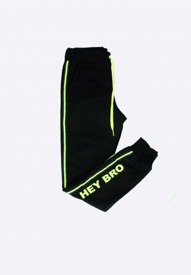 Spodnie dresowe HEY BRO - 002CZARNY-ZOLTY