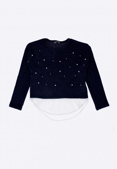 Sweterek dziewczęcy z falbanką LOSAN - 007378 GRANAT