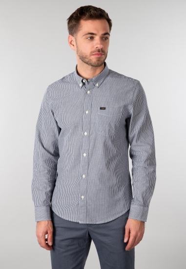 Koszula męska w paski Lee - 003N01 SZARY-BIALY