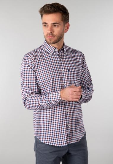 Koszula męska w kratę Blusalina - 00687 BORDO-GRANAT