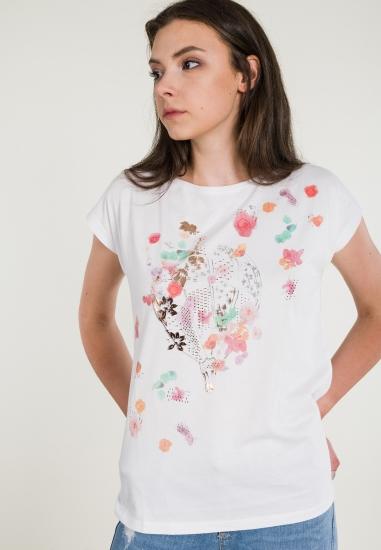 Koszulka z nadrukiem w kwiaty LILI DUDU