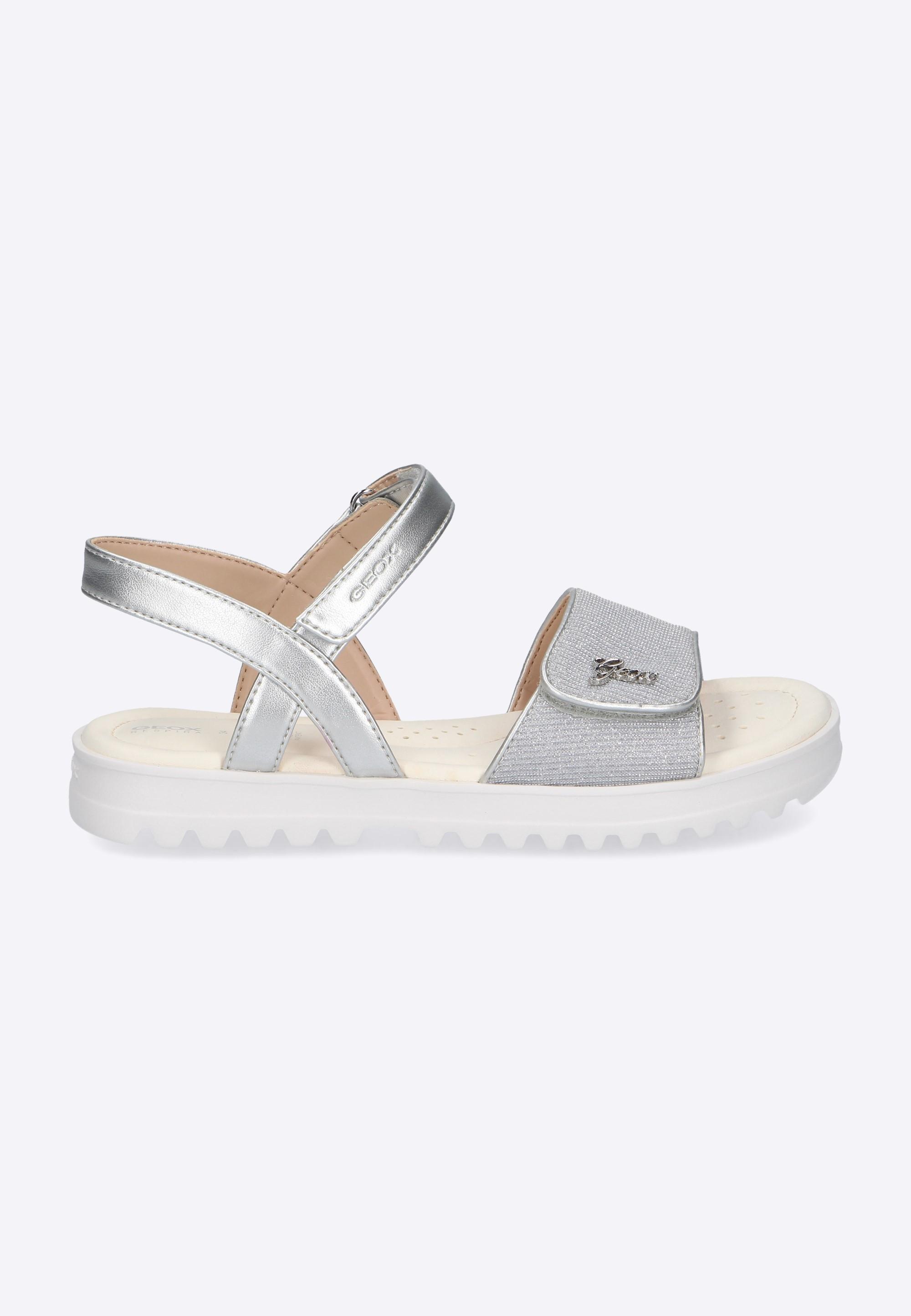 1897542f3a389 Srebrne sandały dziewczęce GEOX - Nico - Odzież i Obuwie