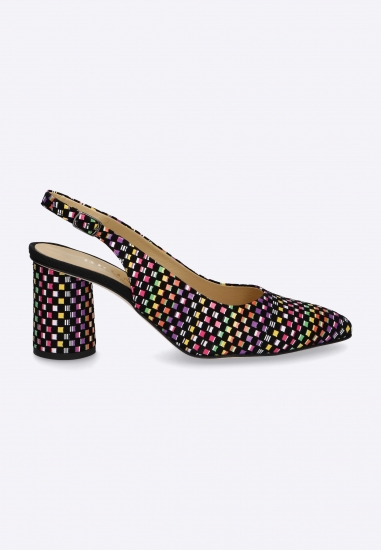 Wzorzyste sandały damskie BRUNATE