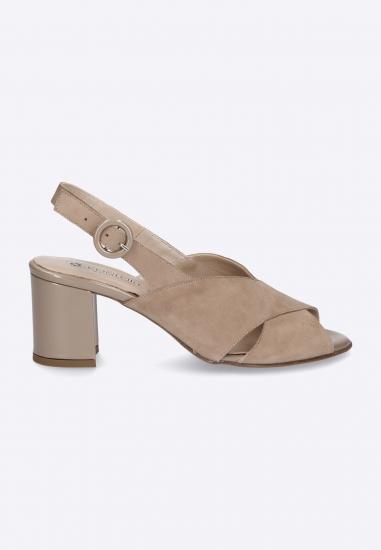 Zamszowe sandały na obcasie CONFORT